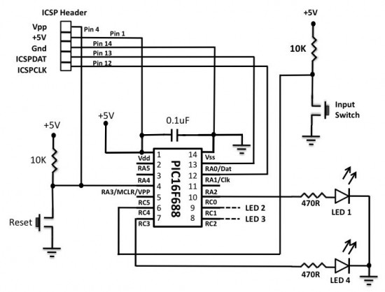 lab 3 four bit binary counter embedded lab rh embedded lab com Decimal to Binary Circuit LED Binary Counter Schematic
