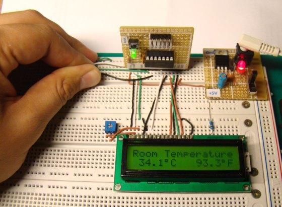 A Digital temperature meter using an LM35 temperature sensor