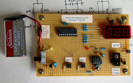 heart rate measurement from fingertip  embedded lab, circuit diagram