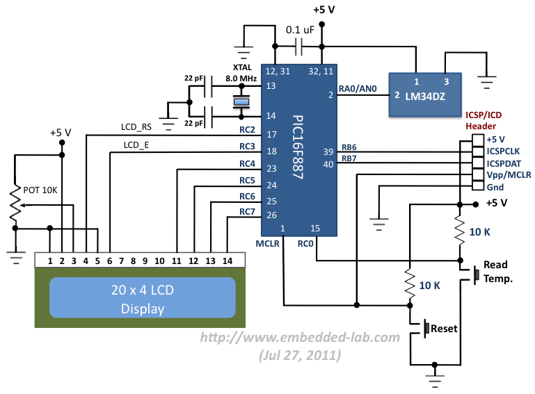 Circuit diagram for debugging PIC16F887 microcontroller system