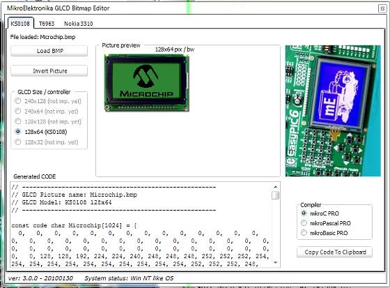 How to use mikroElektronika's GLCD bitmap editor tool to convert a