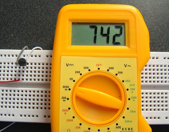 LM34 shows the temperature is 74.2F