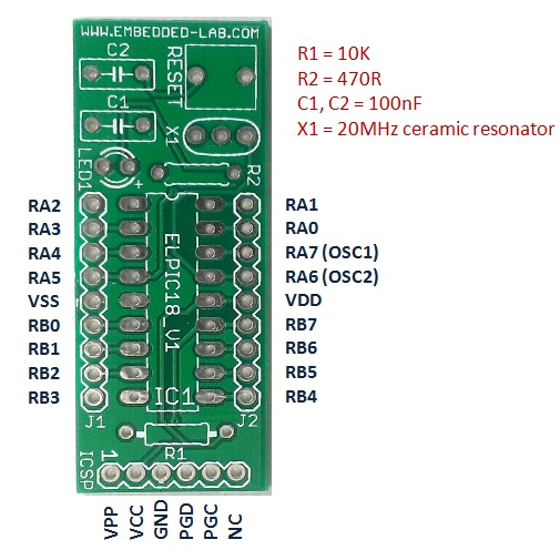 mini breakout board for 18 pin pic16f series