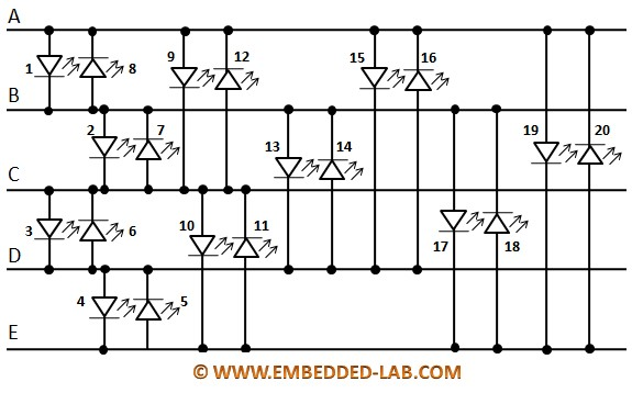 Microcontroller circuit with five Charlieplexing lines