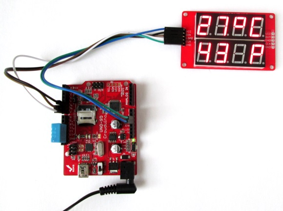 Displaying temperature and humidity  on seven segment LED displays