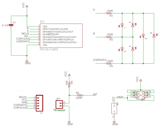 LED dice circuit (click to enlarge)