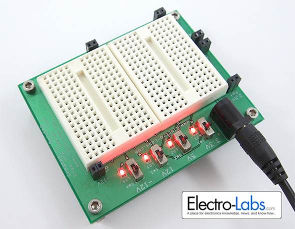 DIY prototyping board with regulated power supplies