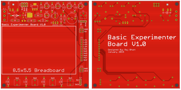 Basic experimenters board top (left) and bottom (right) side PCB views