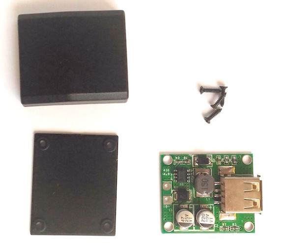 Buck converter with plastic enclosure and screws