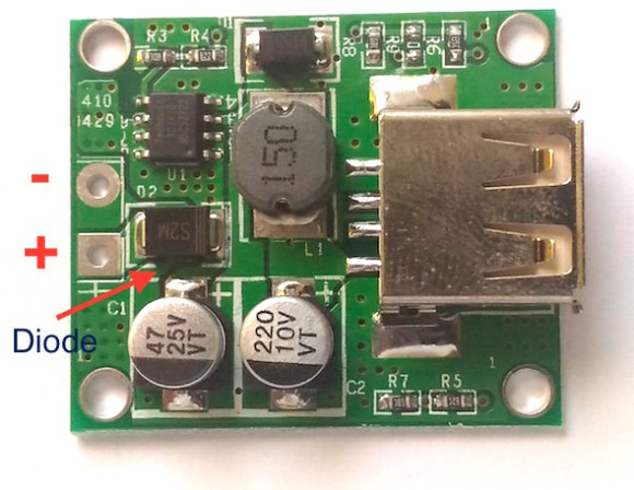 Close up view of TD1410-based 5V buck converter