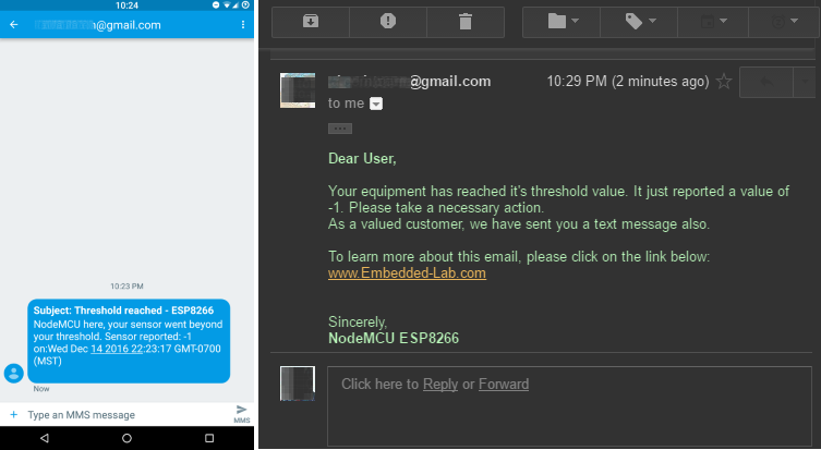 How to send email and text messages using ESP8266 - Embedded Lab